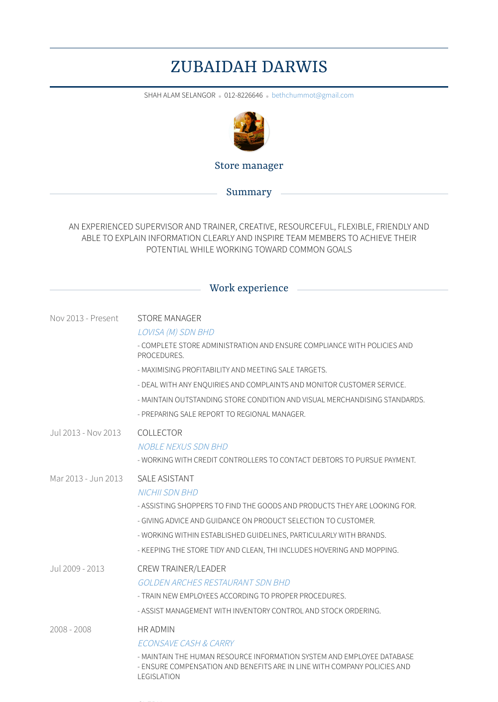 Manager In Training Resume Sample