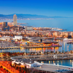 Barcelona city and Port in evening_217646545