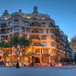 barcelona-Twilight scene of Casa Mila (La Pedrera) in Eixample_183498446