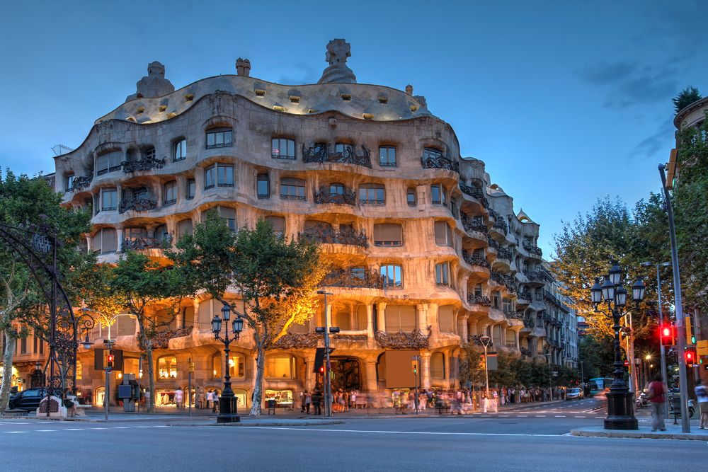 barcelona-Twilight scene of Casa Mila (La Pedrera) in Eixample_183498446