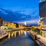 Danube Canal shortly after sunset_308947010