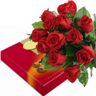 Bouquet de 12 rosas. Caja de Chocolates incluida