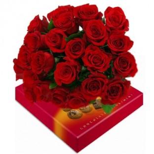 Bouquet de 24 rosas. Caja de Chocolates incluida