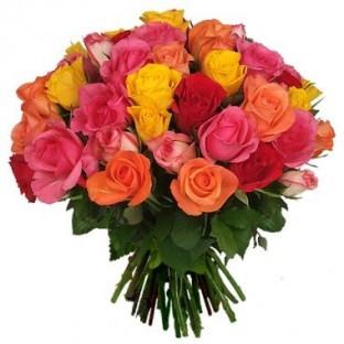 Bouquet de 36 rosas multicolor