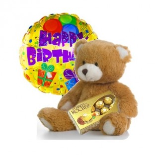 Oso de pèluche de 30cm aproximadamente, caja de chocolates ferrero x 8 y globo metalico de feliz cumpleaños