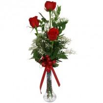 3 rosas. Florero incluido