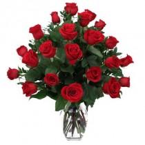 24 rosas. Florero incluido