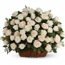 Cesta de 100 rosas blancas