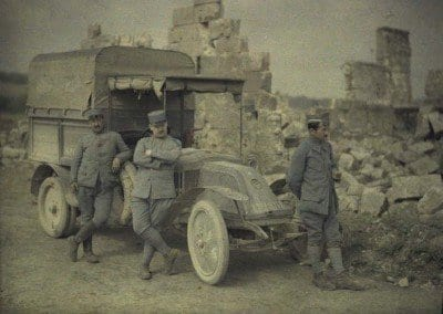 Soldiers and staff vehicle