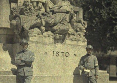 Soldiers in front of 1870 monument