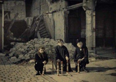 Children playing skittles in Erlon
