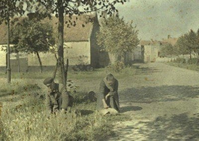Cutting the grass along the streets. Furnes