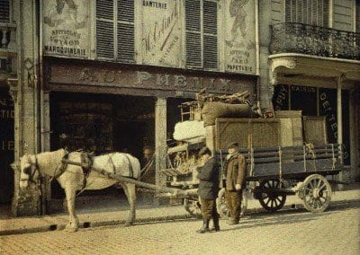 Horse drawn cart in front of leather shop