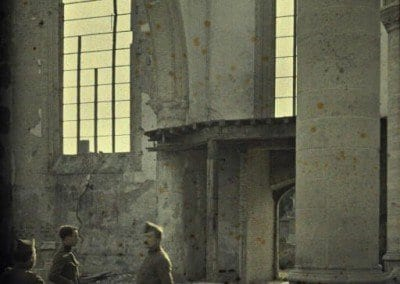 Damaged church, servicemen