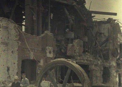 The machinery of the distillery in ruins