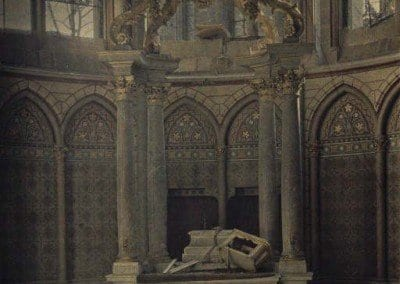 Damaged altar of the Cathedral of Reims.