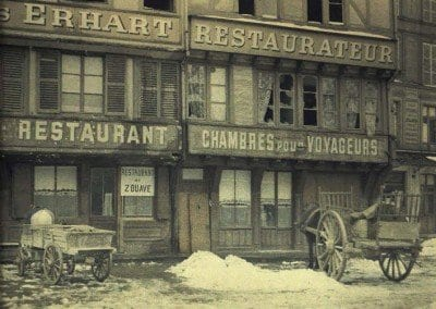 Old houses, Market Square. Restaurant Zouave