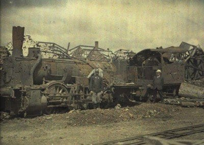 A locomotive in ruins