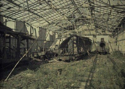 Destroyed railway cars