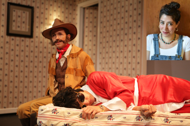 Centre: a production shot of RoosevElvis; top right: Rachel Chavkin