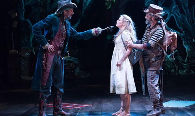 Guy Henry as Captain Hook, Fiona Button as Wendy Darling and Gregory Gudgeon as Smee