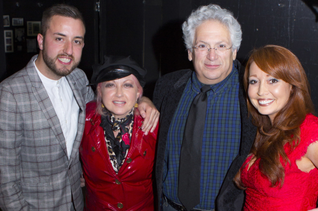 Paul Taylor Mills with Cyndi Lauper, Harvey Fierstein and Amy Anzel at the opening of Casa Valentina