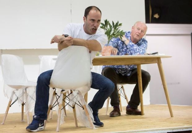 Leigh Melrose (foreground) with Mark Le brocq in Biedermann and the Arsonists (Independent Opera)