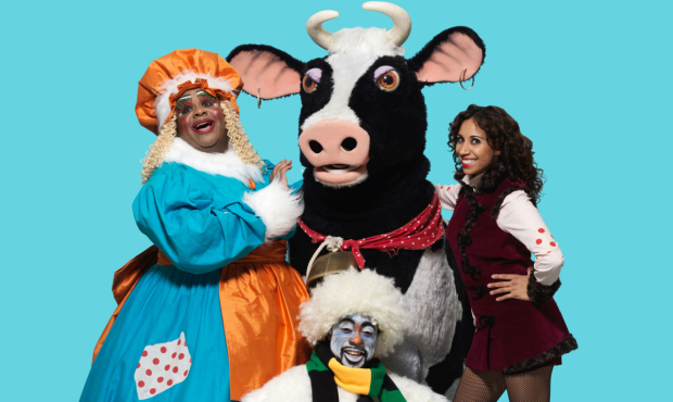 Clive Rowe, Buttercup the cow, Debbie Kurup, and Kat B in Hackney Empire's Jack and the Beanstalk