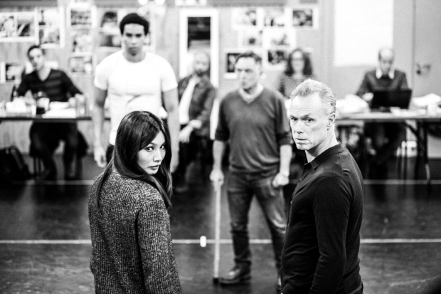 Gemma Chan and Gary Kemp rehearse for The Homecoming