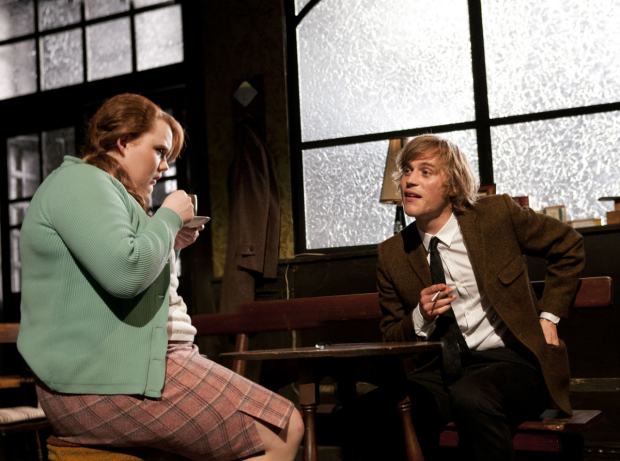 Bronwyn James (Shirley) and Johnny Flynn (Mooney) in Hangmen