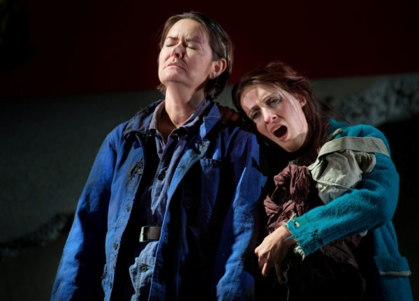 Catherine Carby (left ) with Paula Sides in The Siege of Calais (ETO)
