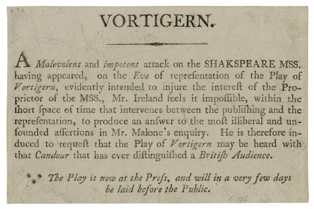 Handbill defending the authenticity of Vortigern, commissioned by Samuel Ireland and distributed outside the theatre before the performance on 2 April 1796