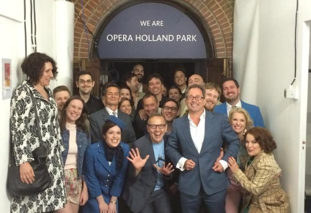 James Clutton (suit & white shirt) at Opera Hollad Park