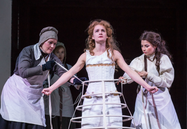 Amy Conroy (Haberdasher) Imogen Doel (Tranio), Aoife Duffin (Katherine) and Genevieve Hulme-Beaman (Bianca) in Taming of the Shrew