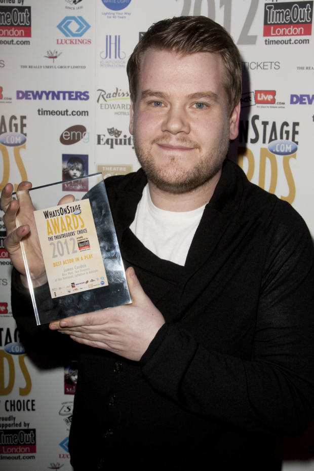 London James Corden accepts the 2012 Whatsonstage Award for Best Actor in a Play for One Man, Two Guvnors