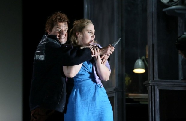 Peter Hoare as Laca and Laura Wilde in the title role of Jenůfa (ENO)