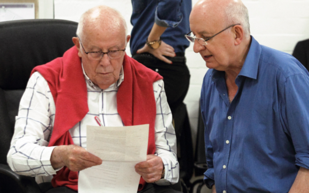 Director Richard Wilson and playwright Alistair Beaton in rehearsals for Fracked!