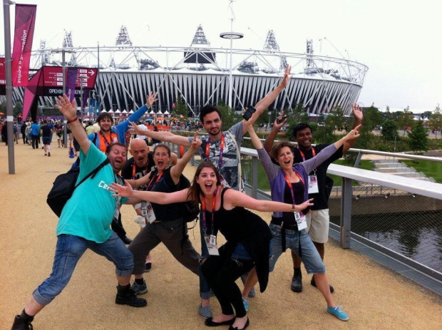 Mel (centre) with fellow cast members outside the Olympic Stadium
