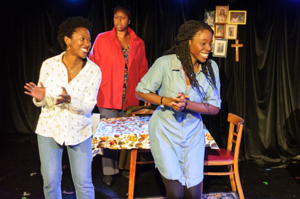 Shvorne Marks (Patricia), Michelle Greenidge (Mum), Rebecca Omogbehin (Jemima) in Clean Break's House