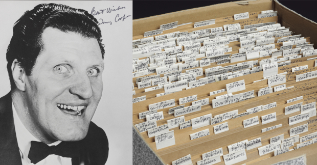 A signed photograph of Tommy Cooper, and a photo of Cooper's 'gag file'