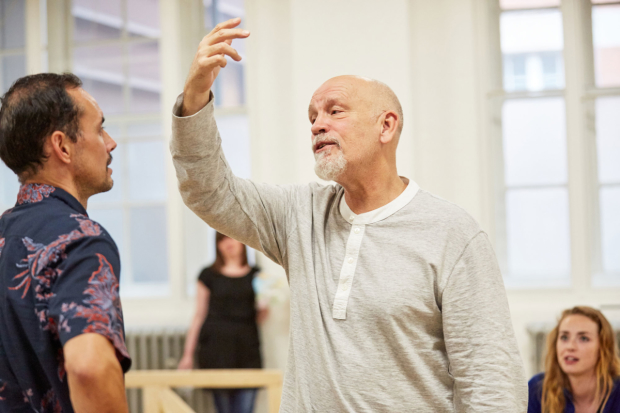 Director John Malkovich in rehearsals for Good Canary