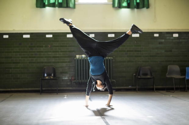 Leah Harvey (Poins, Miranda) in The Tempest rehearsals