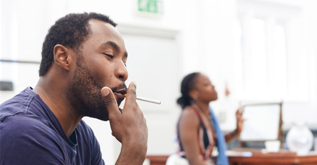 Gbolahan Obisesan and Ronke Adékoluejo in rehearsal for The Mountaintop