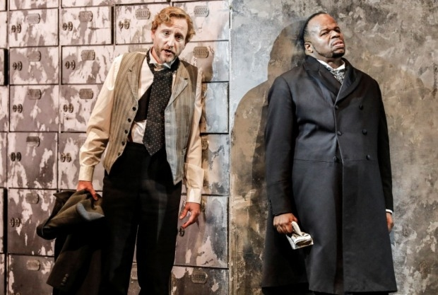 Martin Wölfel as Antonio and Lester Lynch as Shylock in The Merchant of Venice (WNO)