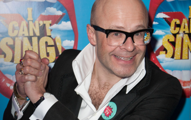 Harry Hill at the launch of I Can't Sing! in 2014