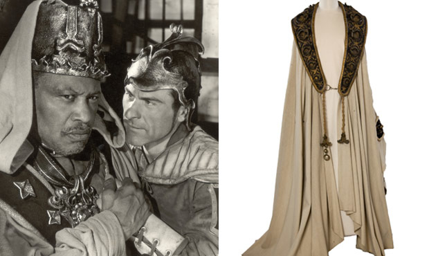Paul Robeson as Othello in 1959 and (left) the robe he wore.
