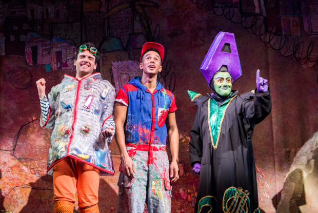 Arthur McBain as Wishy Washy, Karl Queensborough as Aladdin and Vikki Stone as Abanazer in Aladdin at the Lyric Hammersmith
