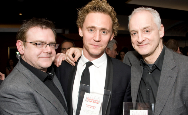 Tom Hiddleston collects his Award in 2009. Also pictured: Kevin R McNally and Malcolm Sinclair