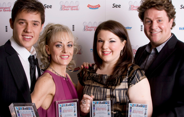 Leanne Jones (second from right) with Hairspray cast mates Ben James-Ellis, Tracie Bennett and Michael Ball in 2008.