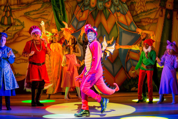 Kat B as Denzel the Dragon in the Hackney Empire's pantomime this year